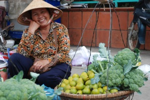 market vendor in Dalat Vietnam